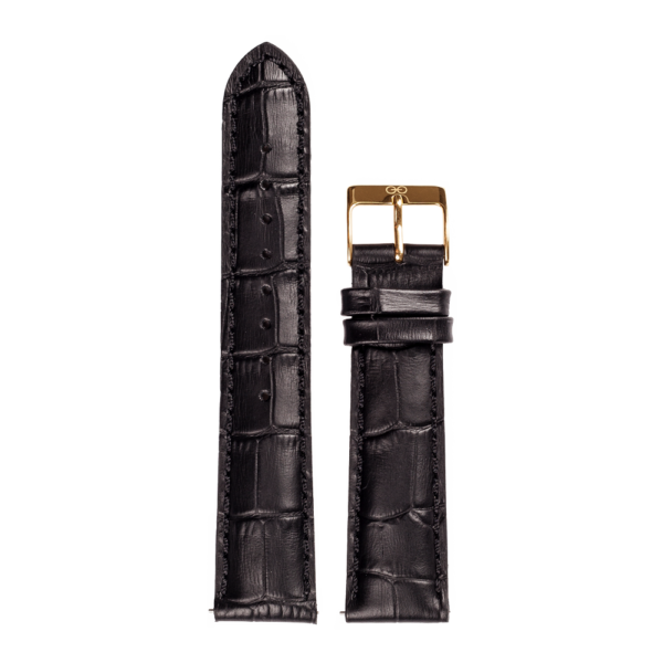 Leather Black Alligator Gold